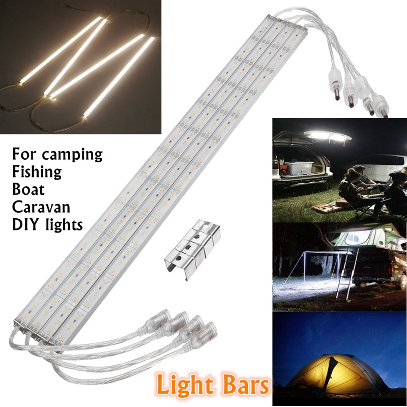 Warm White 4pcs 50CM 36 Led Bar Light 12V DC Waterproof IP65 5630 SMD Tube Strip Lights Outdoor 9W Bars For Camping Boat Car