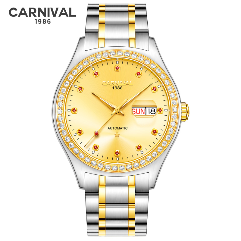Carnival Gold Diamond Automatic Watch Men Mechanical Watches Mens High Quality Wristwatch Waterproof Clock Carnival Gold Diamond Automatic Watch Men Mechanical Watches Mens High Quality Wristwatch Waterproof Clock