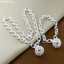 DOTEFFIL 925 Silver Jewelry Necklaces Bracelets Set Romantic Hollow Round Star Women Necklaces Bracelets Jewelry Set women bracelets silver dragonfly bracelet for women romantic bracelets silver 925 jewelry