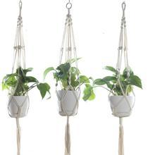 Macrame вешалки для растений напольное Настенное подвесное Кашпо Корзина держатель цветочного горшка винтажный домашний Декор подарок 105 см