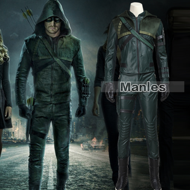 Green Arrow Oliver Queen Costume TV Show Arrow Season 3 Cosplay Costume Halloween Clothing Superhero Suit & Green Arrow Oliver Queen Costume TV Show Arrow Season 3 Cosplay ...