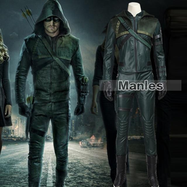 Green Arrow Oliver Queen Costume TV Show Arrow Season 3 Cosplay Costume Halloween Clothing Superhero Suit & Green Arrow Oliver Queen Costume TV Show Arrow Season 3 Cosplay ...