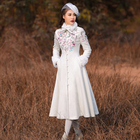 High Quality Brand Women S Winter Coat Chinese Style Retro Embroidery Rabbit Hair Collar Long Sleeve