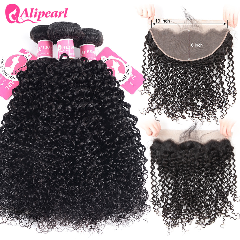 AliPearl Hair Brazilian Kinky Curly 13x6 Lace Frontal Closure With Bundles 3 Bundles With Frontal Closure Free/Middle/Three Remy