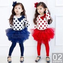 JENYA 2017 new arrival hot sale girls fashion polka dot bow clothes full t-shirt=yarn skirt 2pcs set children clothing kids