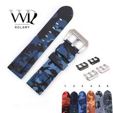 Rolamy 22 24mm Camo Blue Black Grey Red Waterproof Silicone Rubber Replacement Watch Band Loops Strap For Panerai Luminor