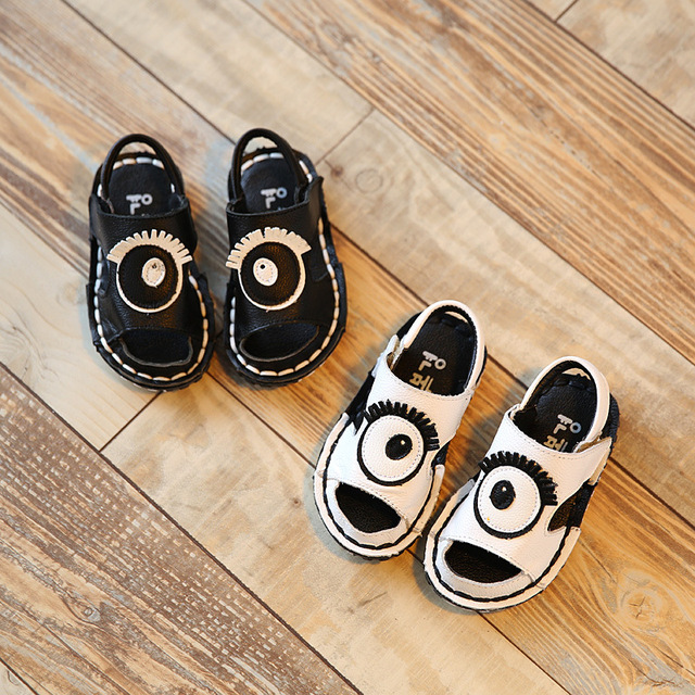 2017 Summer Kid White Toddler Boy Beach Breathable hollow Sandal Baby Girl Children Fashion Black Genuine Leather Shoes
