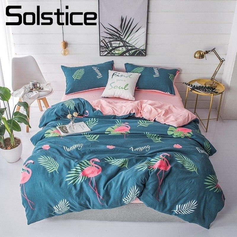 Solstice maison Textile simple Double literie linge ensemble bleu flamant rose housse de couette taie d'oreiller plat lit feuille filles adolescent adulte