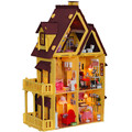 Free Shipping Big Size Kids Educational DIY Wooden Dollhouse -- Handmade Miniature House Model Include Furniture,Lamps