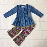 New Fashion Denim Cardigan Baby Outfits With Button Children Remake Clothes Knitted Ruffle Pants Boutique Girl