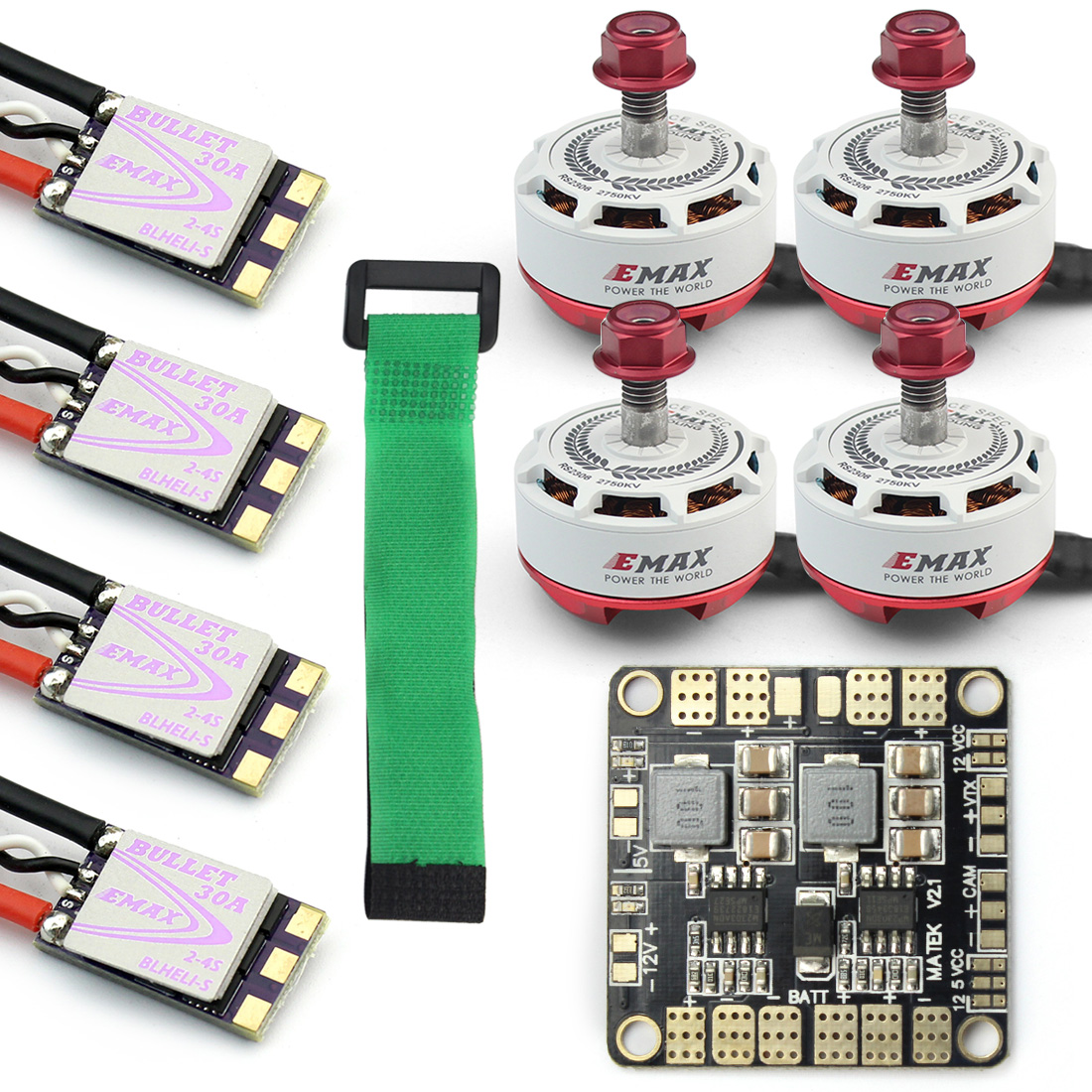 Mini RC Racing Drone 4x EMAX RS2306-2750KV & Mini ESC Dshot BLS Bullet 30A Brushless Motor ESC Combo + Power Distribution Board