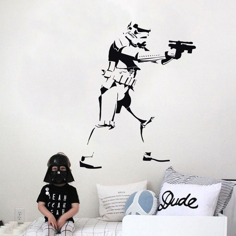 Art Design Stormtrooper Silhouette Wall Sticker DIY 3D Heminredning Vinyl Star Wars Movie Wall Decals För Barnrum eller Vardagsrum