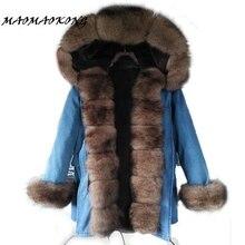 2017 long denim winter jacket thick parkas natural real fox fur collar coat women outwear hooded pelliccia