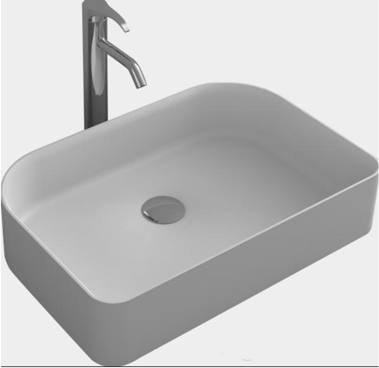 Rectangular Bathroom Counter Top Vessel Sink Matte White Solid Surface  Stone Washbasin RS38176 620-in Bathroom Sinks from Home Improvement on  Aliexpress.com ...