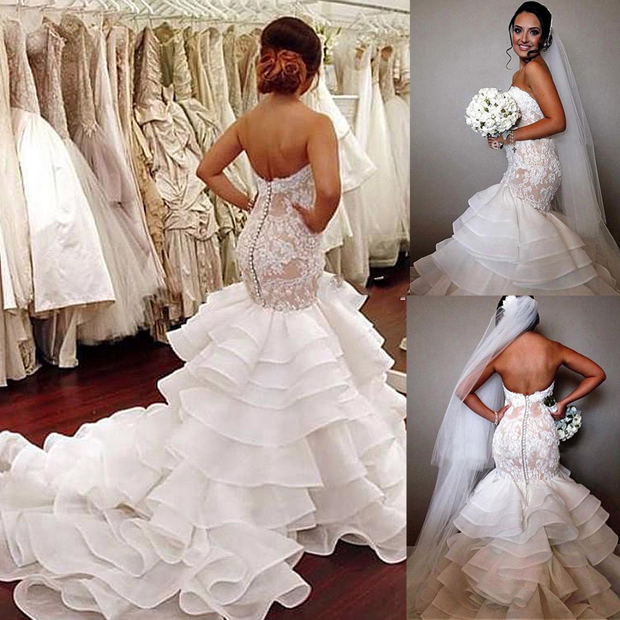 Fashionable Ruffled Organza Satin Sweetheart Neckline Mermaid Wedding Dress With Beadings & Lace Appliques Bridal Gowns