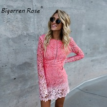 Sexy Club Dress 2017 Pink Gradient Color Floral Celebrity Bodycon Bandage Dress Long Sleeve Slim Hollow Lace Dress