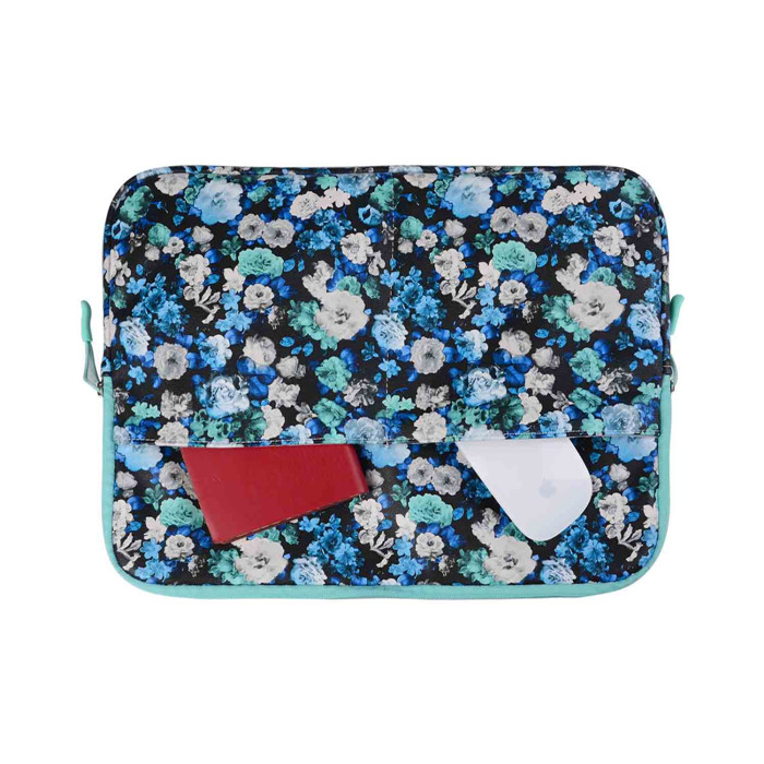 waterproof Retro Laptop Sleeve Case for macbook air 13 pro retina 13 blue flower laptop Bag for 13.3inch tablet with two pocket