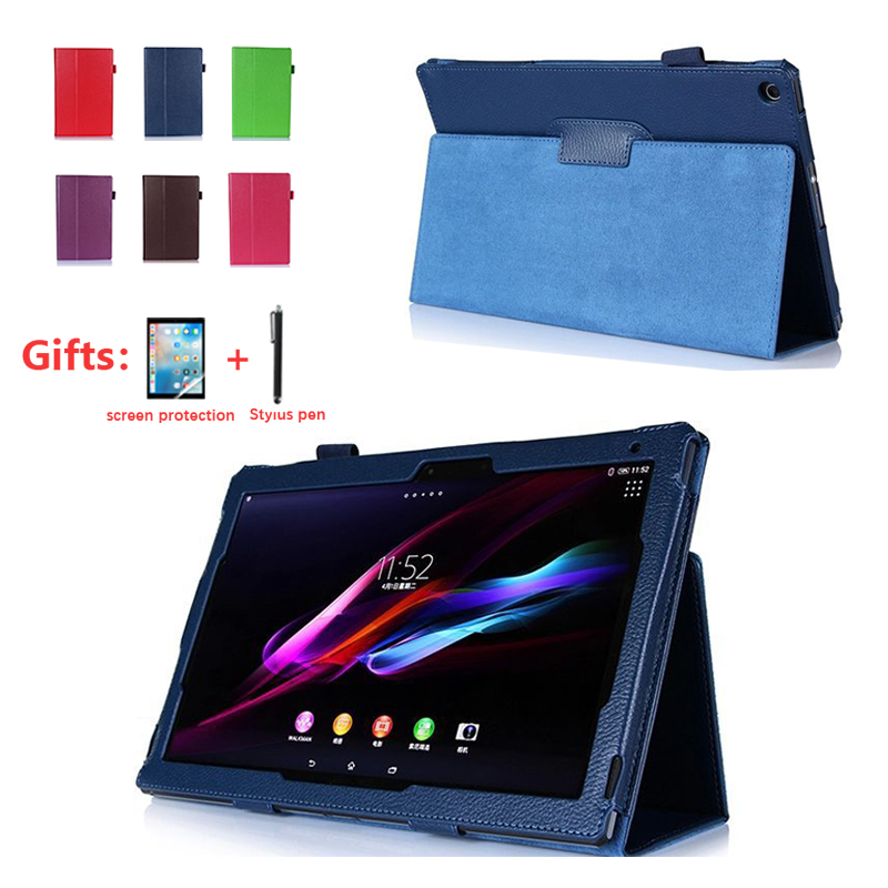 Cover <font><b>Case</b></font> for 10.1 inch <font><b>Sony</b></font> <font><b>Xperia</b></font> <font><b>Tablet</b></font> Z/<font><b>Z2</b></font>, Filp PU Leather Protective Cover for <font><b>Sony</b></font> <font><b>Xperia</b></font> <font><b>Z2</b></font> Z1 <font><b>Tablet</b></font>+film Stylus Pen image