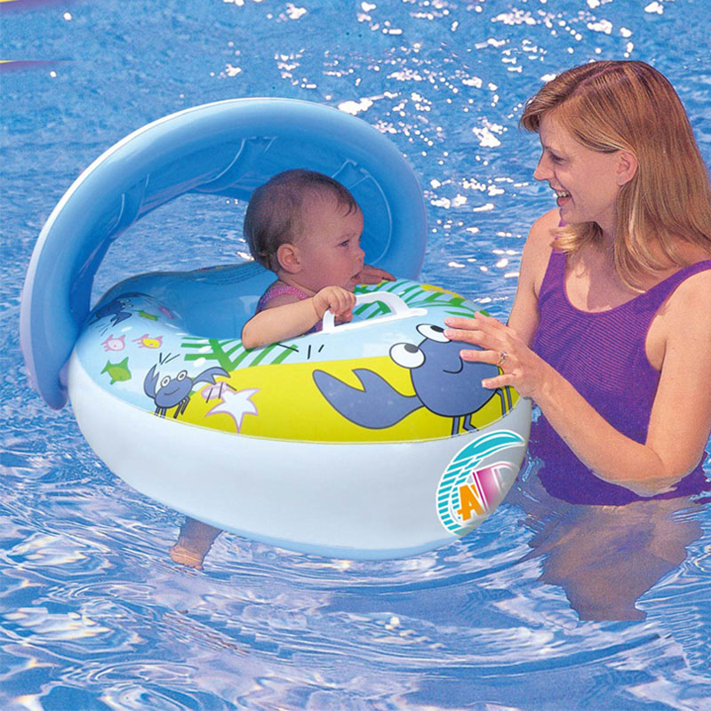 Baby Kids Swimming Ring Inflatable Baby Float Seat Boat Ring Car Sunshade Swim Pool Water Protect Sun Safety Valve For  3-6Y