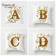 Fuwatacchi Gold Floral Letter Cushion Cover 26 Golden White English Letters Pillow Sofa Home Car Decorative Pillowcases