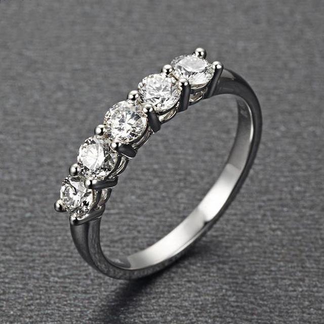 9K White Gold Round Simulated Diamond Engagement Wedding Ring