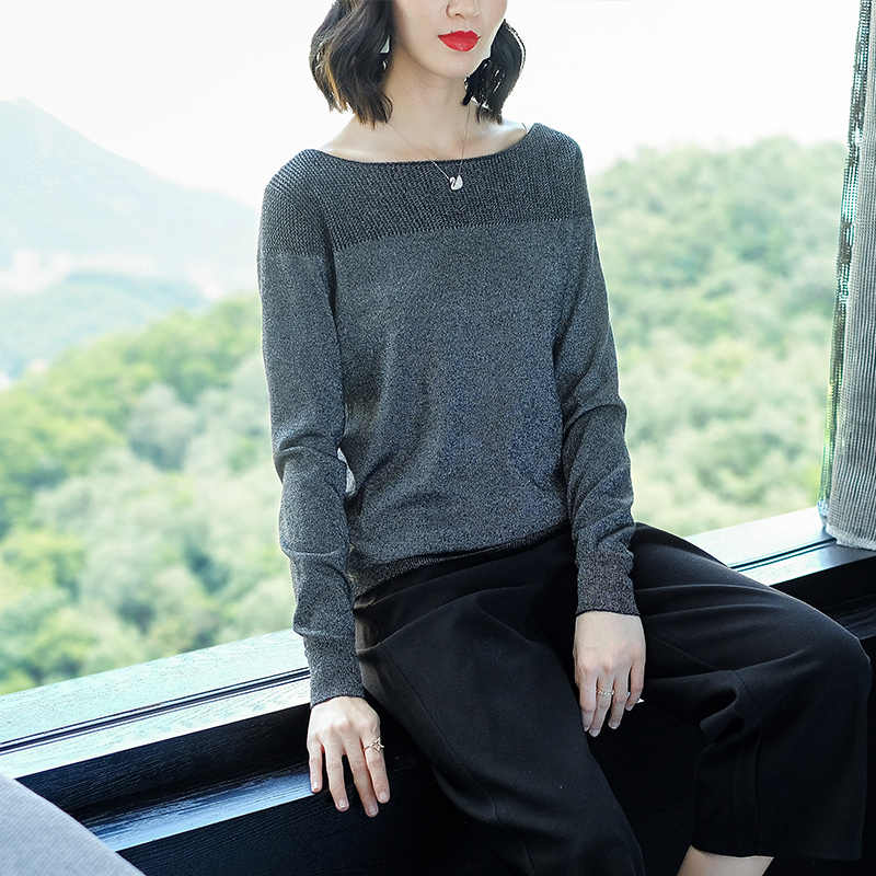 YISU свитер женский с круглым вырезом свитер женский 2019 Весна Осень Свободный пуловер Повседневный яркий шелк твердые тонкие свитера женский