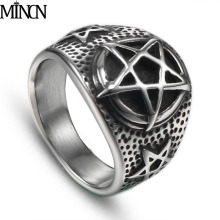 MINCN mens ring Trend Fashion pentagram Titanium steel personality Simple Mens stainless jewelry