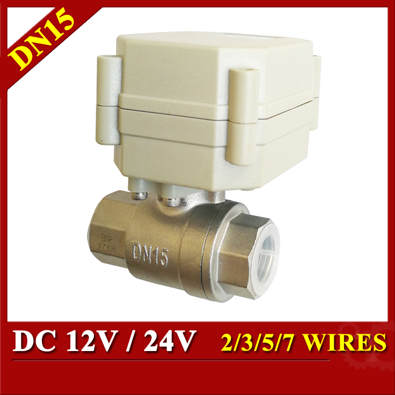 Tsai Fan Electric ball valve 1/2 DC/12V/24V 2/3/5/7 wires SS304 valve DN15 Motorized ball valve for Water Control HVAC systems 1 dc12v ss304 3 way l port electric ball valve dn25 2 wires motorized ball valve for water heating