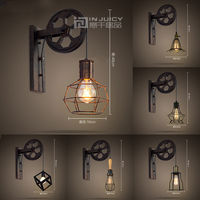 Винтаж промышленных E27 светодиодный железная стена света подъема шкив светильник Лофт проход ресторан бар Спальня чтения Гостиная Home Decor