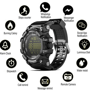 Image 1 - Bluetooth Uhr EX16 Smart Uhr Benachrichtigung Fernbedienung Schrittzähler Sport Uhr IP67 Wasserdichten männer Armbanduhr
