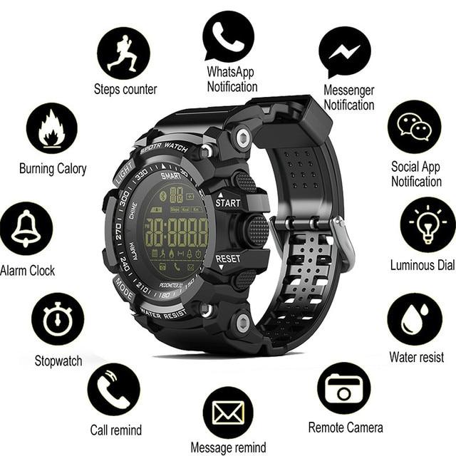 Bluetooth Uhr EX16 Smart Uhr Benachrichtigung Fernbedienung Schrittzähler Sport Uhr IP67 Wasserdichten männer Armbanduhr