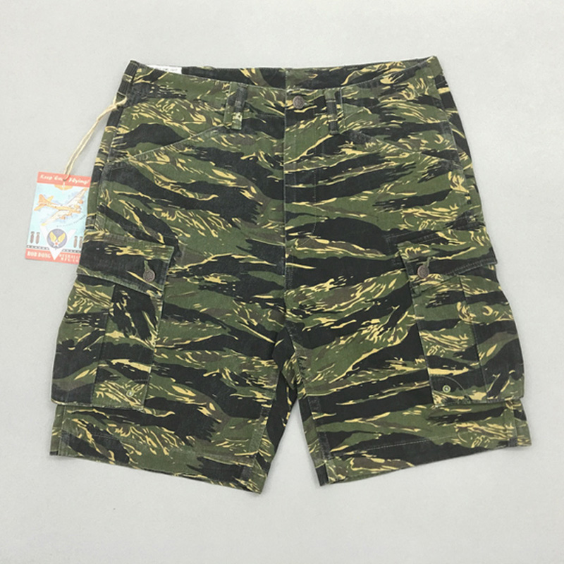 BOB DONG 12oz Denim Jungle TIiger Stripe Shorts Vietnam War Military Mens Straight Short Trousers Tiger Stripepattern Plus Size