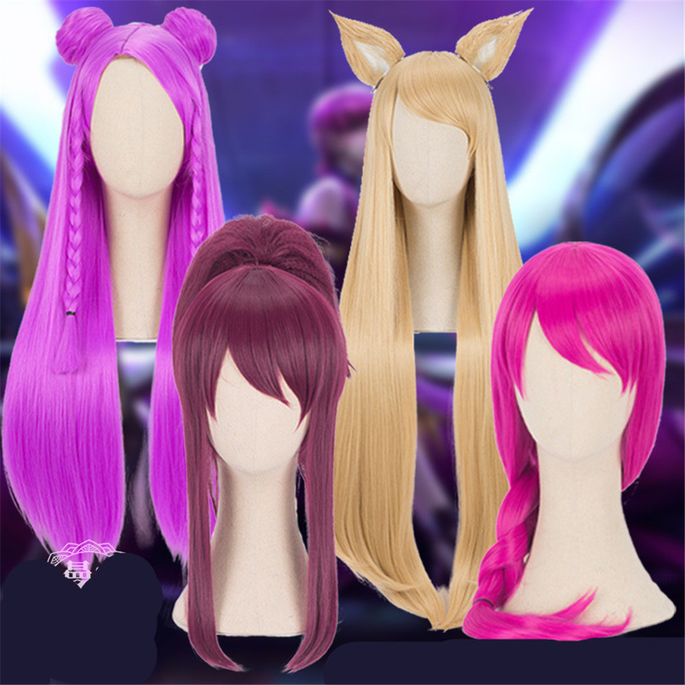 new Game LOL KDA Kaisa  Ahri  Akali Cosplay Wig Girl Heat Resistant Cosplay Purple Wig 80cm Synthetic Hair Halloween Cosplay