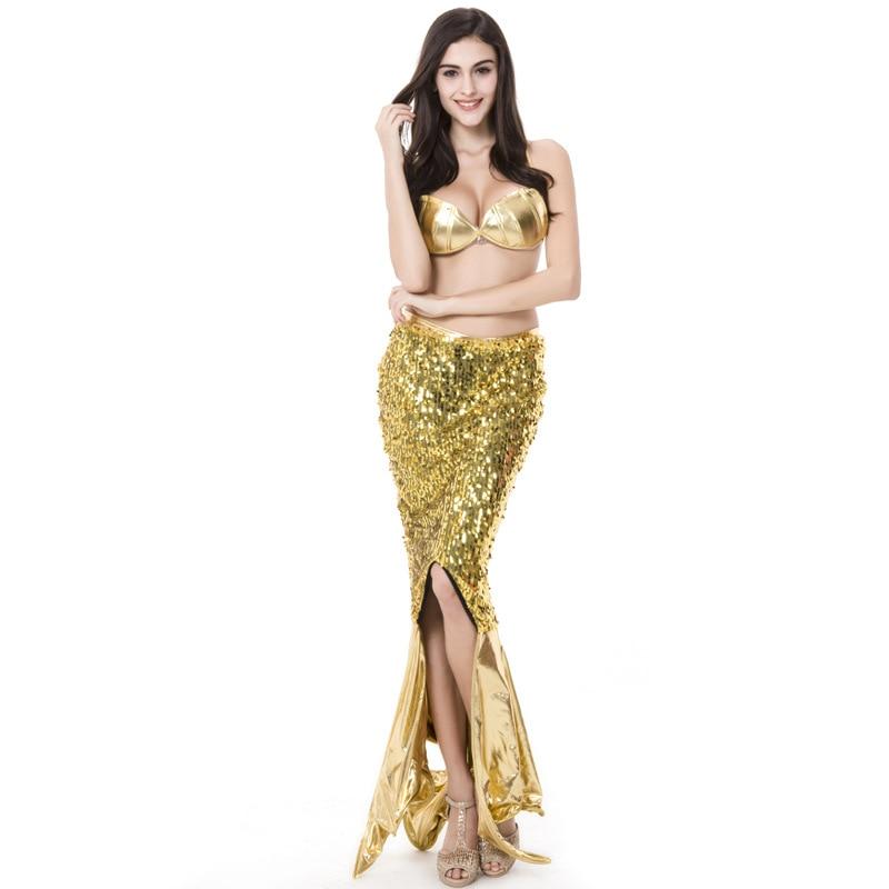 Free shipping hot selling gold sexy set princess ariel clothing   Mermaid Cosplay dress uniform gold sexy bra+skirt