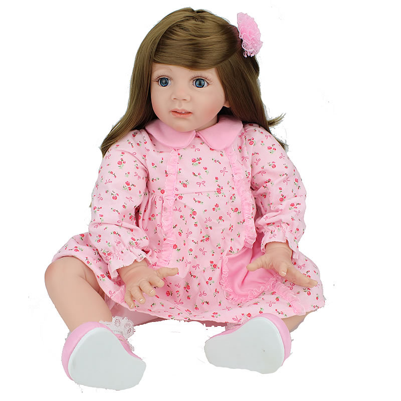 60 cm vinyl Baby Reborn Silicone Dolls Pasted Wigs Toddler New babies born alive wholesale new Year's gift for children Bonecas new arrival full silicone vinyl baby dolls reborn girl 57 cm realistic alive new born bonecas 23 babies doll toy for children