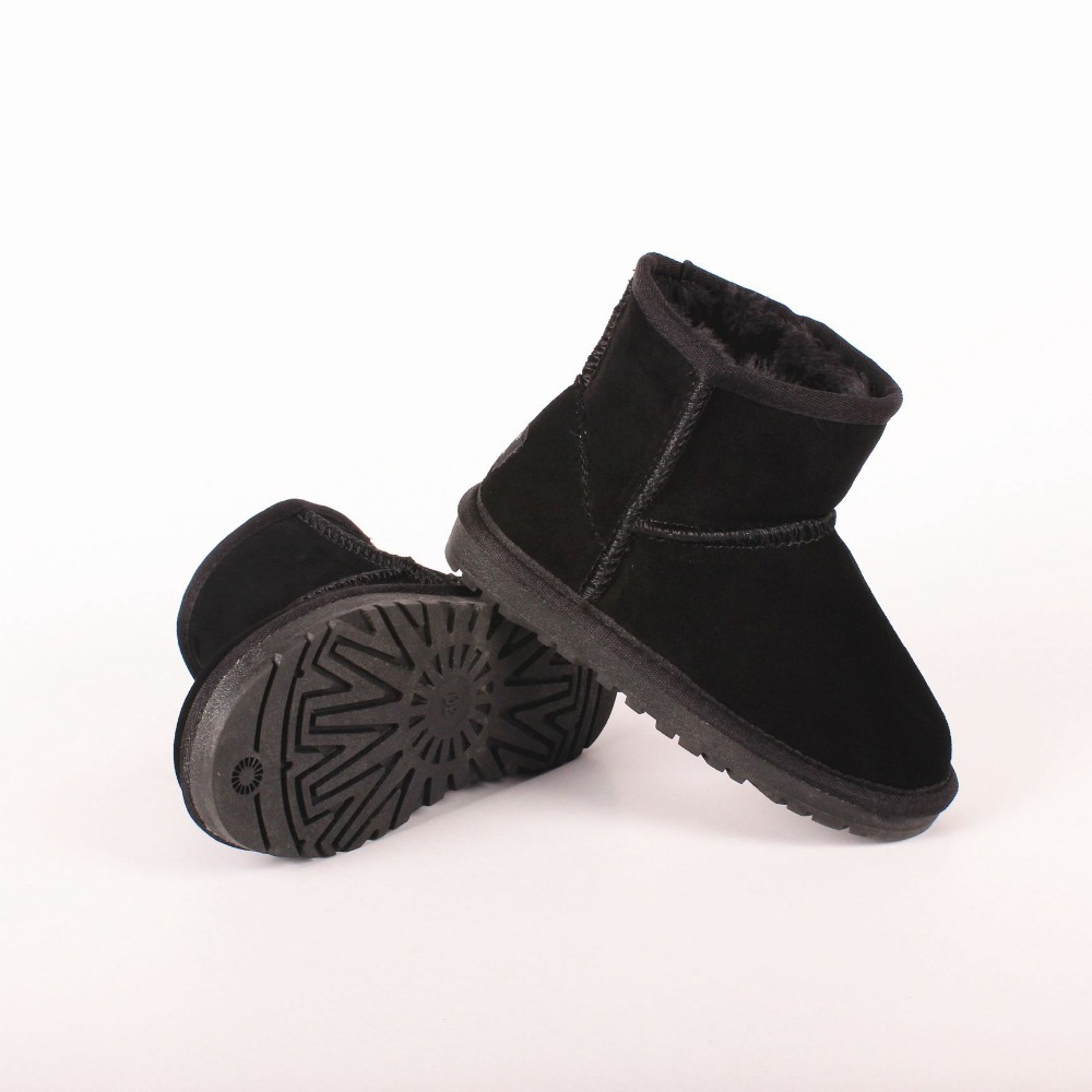 100% Sheepskin Winter Kids Girls Fashion Snow Boots for Children Genuine Leather Shoes Boys Black Warm Fur Australia Boots 2016 australia genuine sheepskin leather