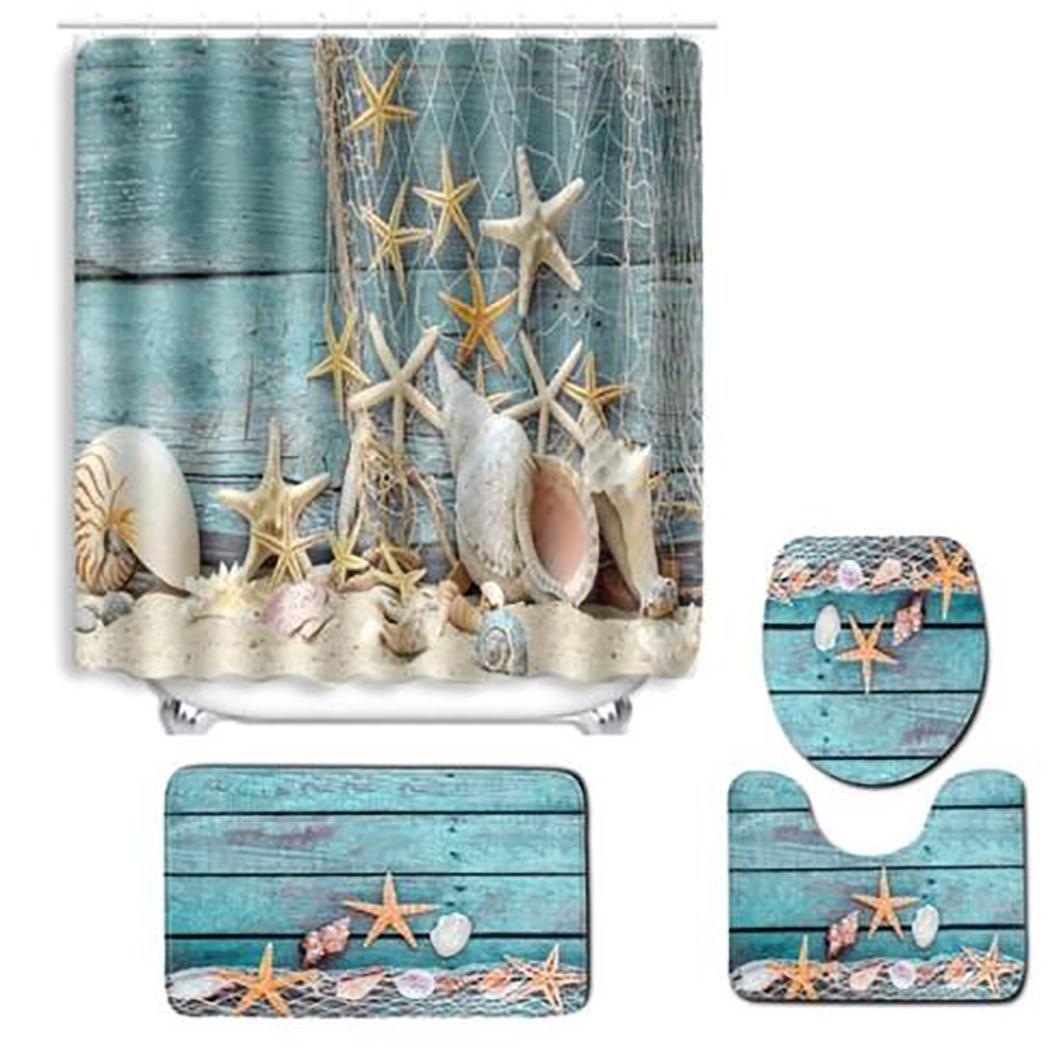Коврик для ванной комнаты душевая занавеска в комплекте с принтом туалет 1 x Чехол, 1 x ковер, 1 x U коврик для сиденья нескользящий коврик для ванной - Цвет: fishnet starfish