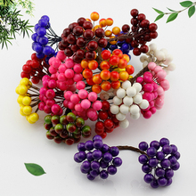 20pcs/40 head Mini fake fruit glass berries Artificial pomegranate red cherry bouquet Stamper Christmas Decorative double heads