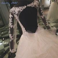 Vestido De Noiva Manica Lunga Sexy V Neck Backless abito di Sfera Abito Da Sposa Con Luxury Carino Fulles Bow Skirt