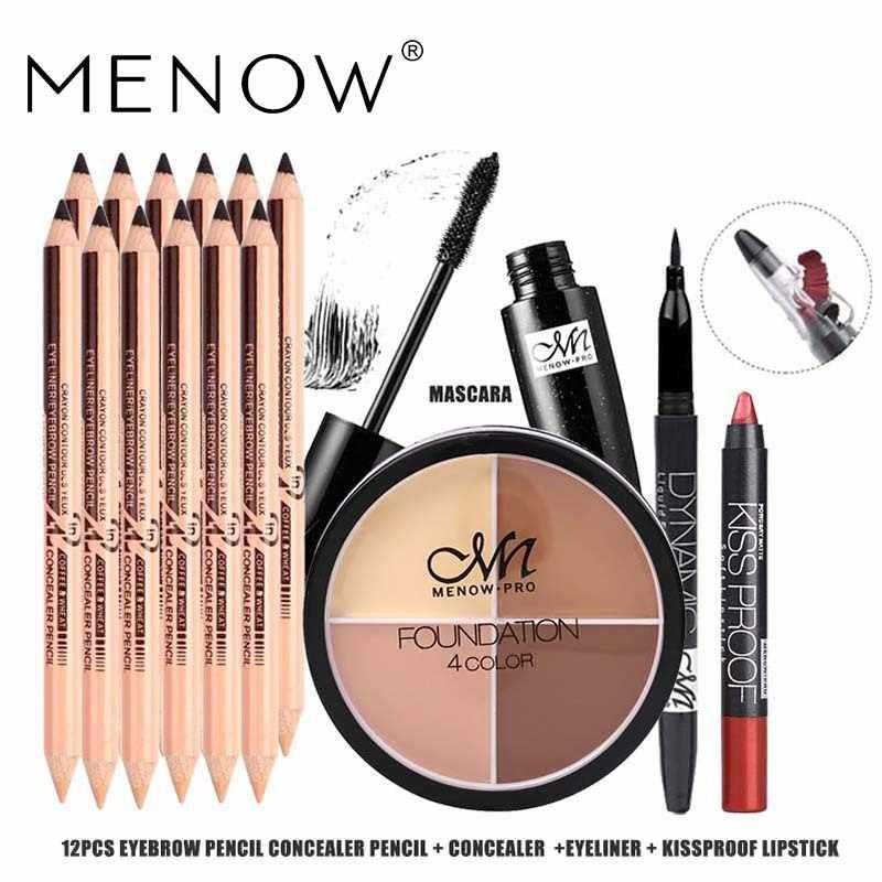 MENOW Merek 5 PCS Make up set 12 PCS Alis Pensil & Pensil Concealer + 4 Warna Concealer + Hitam Eyeliner + maskara + Lipstik 5416