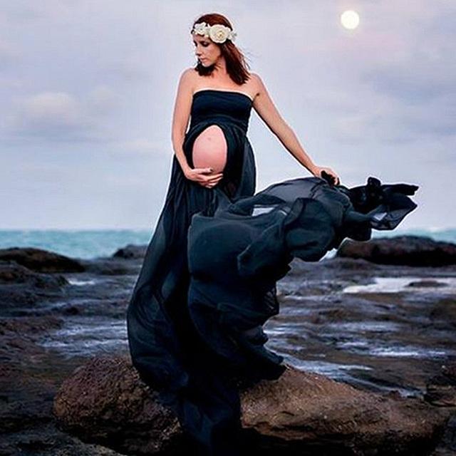 Novas Mulheres Preto Saia Maternidade Fotografia Adereços Sessão de Fotos de Roupas Vestidos de Maternidade Para grávidas Roupas Gravidez Elegante