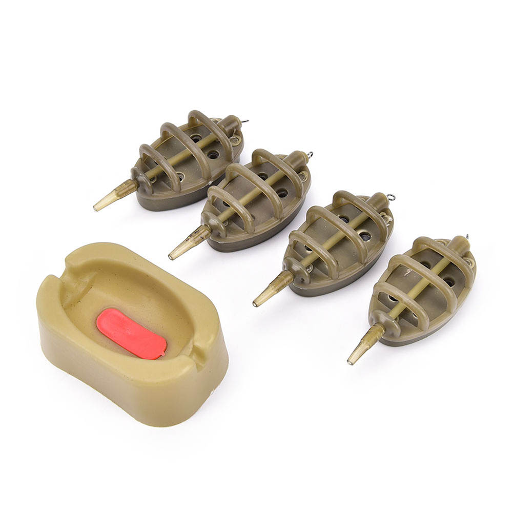 Wholesale Inline Method Carp Fishing Feeder Lead Set 4 Feeders Mould Kit Plastic Baiting Tools Accessories MSD-ING