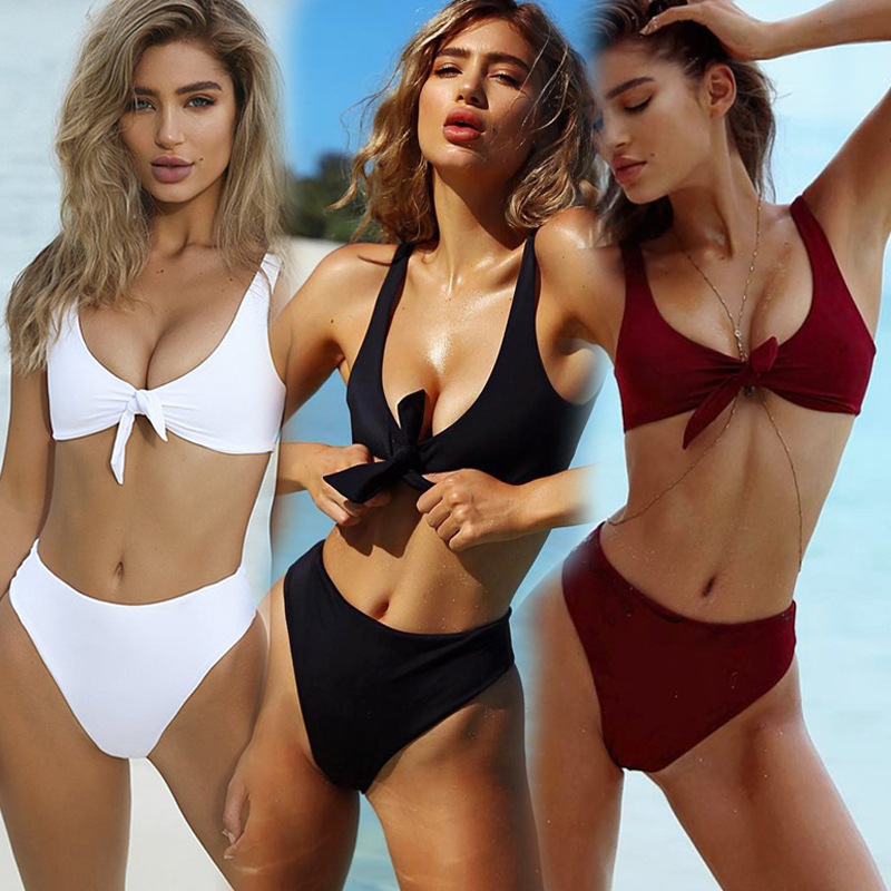 2018 Micro Bikini Push Up Solid Color The Chest Tie Fission Swimming Suit For Ma am