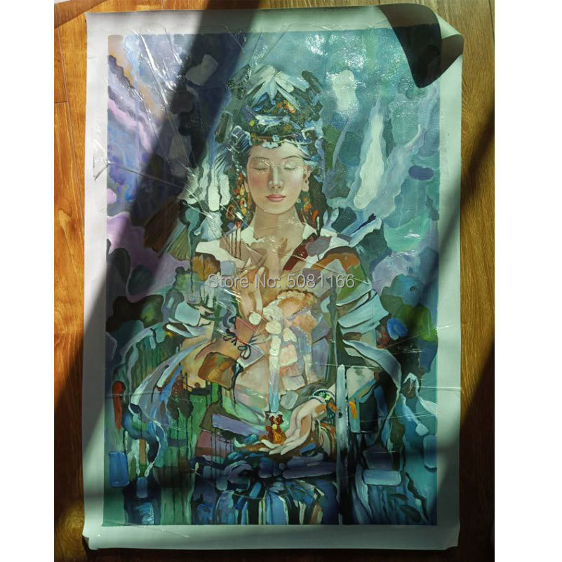 Hand painted Buddhism Oil Painting Guanyin female Buddha Canvas Pictures Buddhism god wall Art Home Decor mural art top quality in Painting Calligraphy from Home Garden