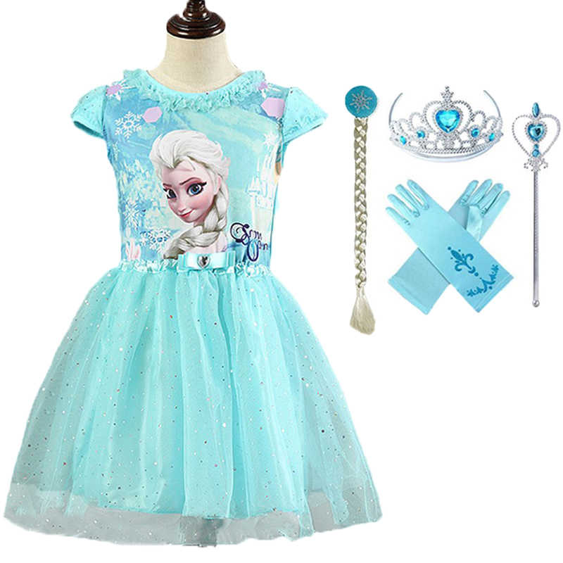 New Brand Elsa&Anna Girls Dresses Princess Cosplay Party Dress Vestidos fantasia Anna Halloween Elsa Costumes Kids Clothes