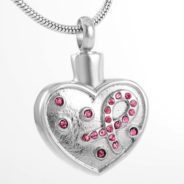 Crystal Ribbon in Heart Urn Pendant