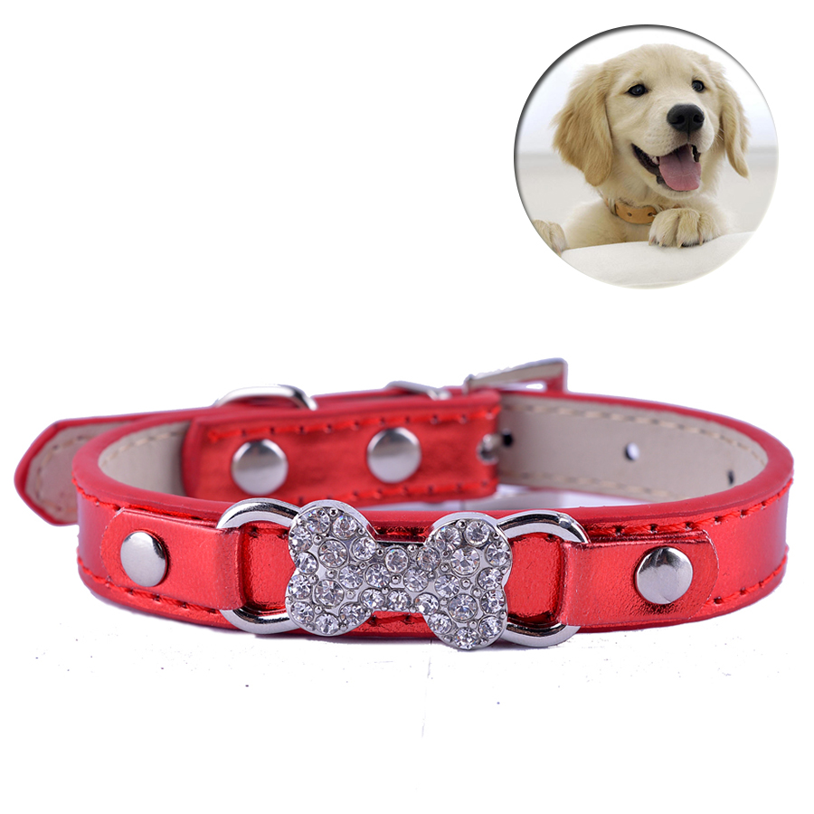 Cheap Pu Leather Dog Collar Bling Crystal Rhinestone Collar For Small Dogs Chihuahua Pet Puppy Neck Strap Size S M