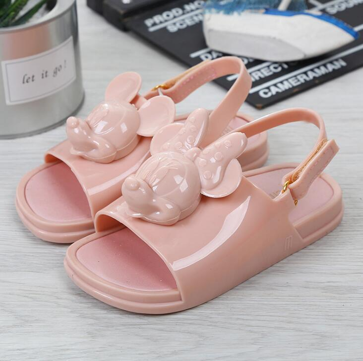 Melissa Twins Mini Mouse Head 2019 New Summer Three-dimensional Shoes New Jelly Shoe Sandals Girl Non-slip Kids Sandal Toddler