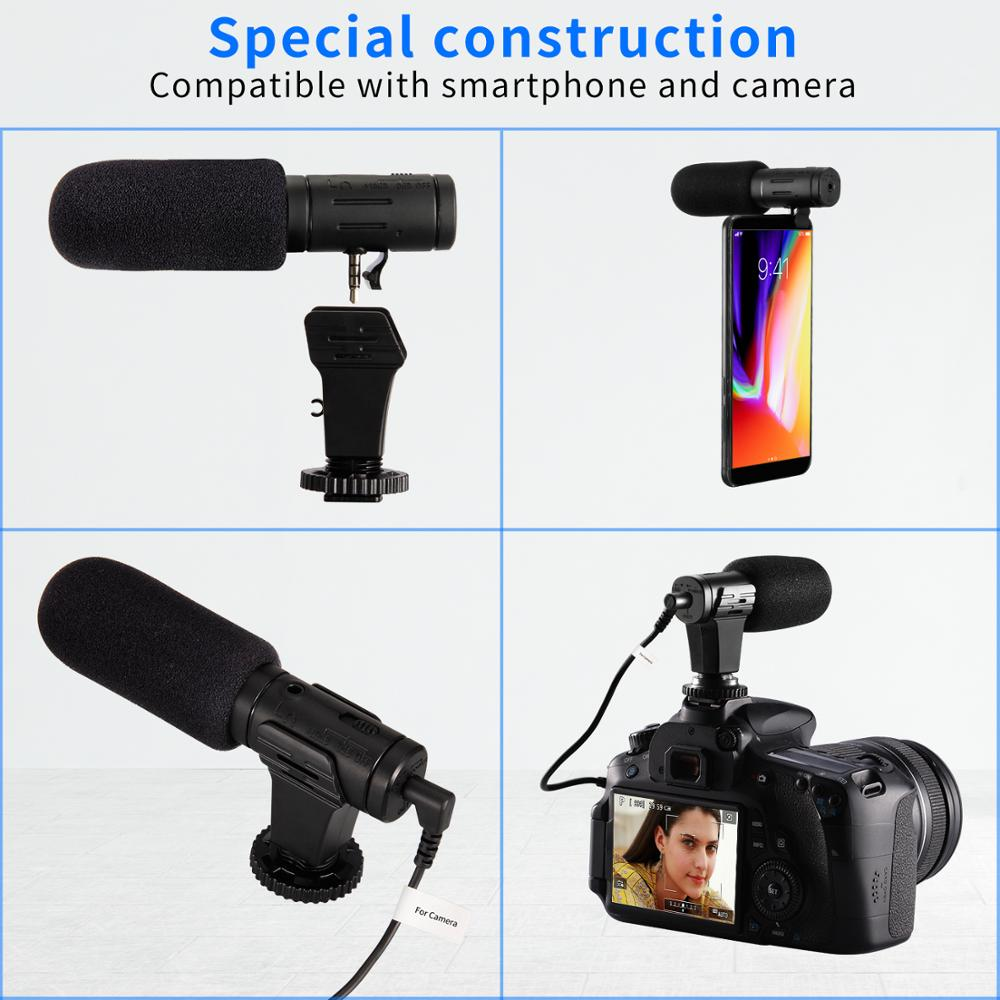 3.5mm real-time monitoring cardioid stereo phone microphone video camera interview mic condenser recording microphone for gopro