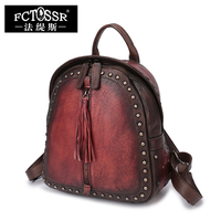 Soft Handle Backpack Female Vintage Rivet Genuine Leather Women Knapsack Handmade School Bags Back Pack